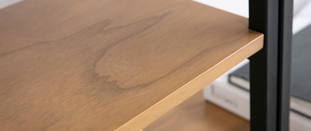 Libreria design legno e metallo nero MARLEE
