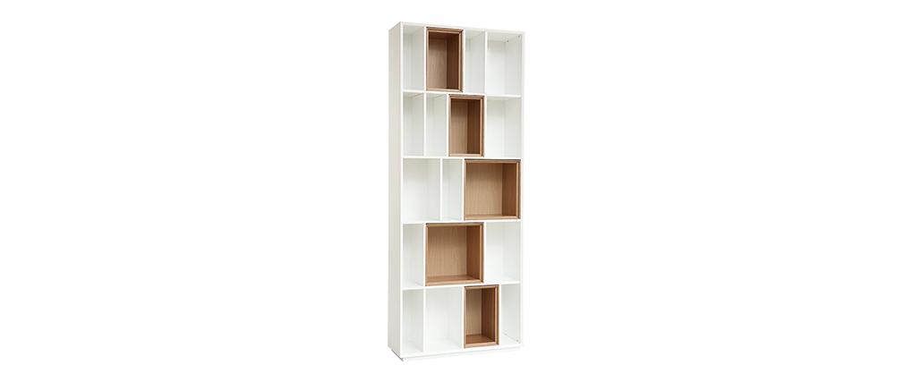 Libreria design modulabile Bianco e quercia JAZZ