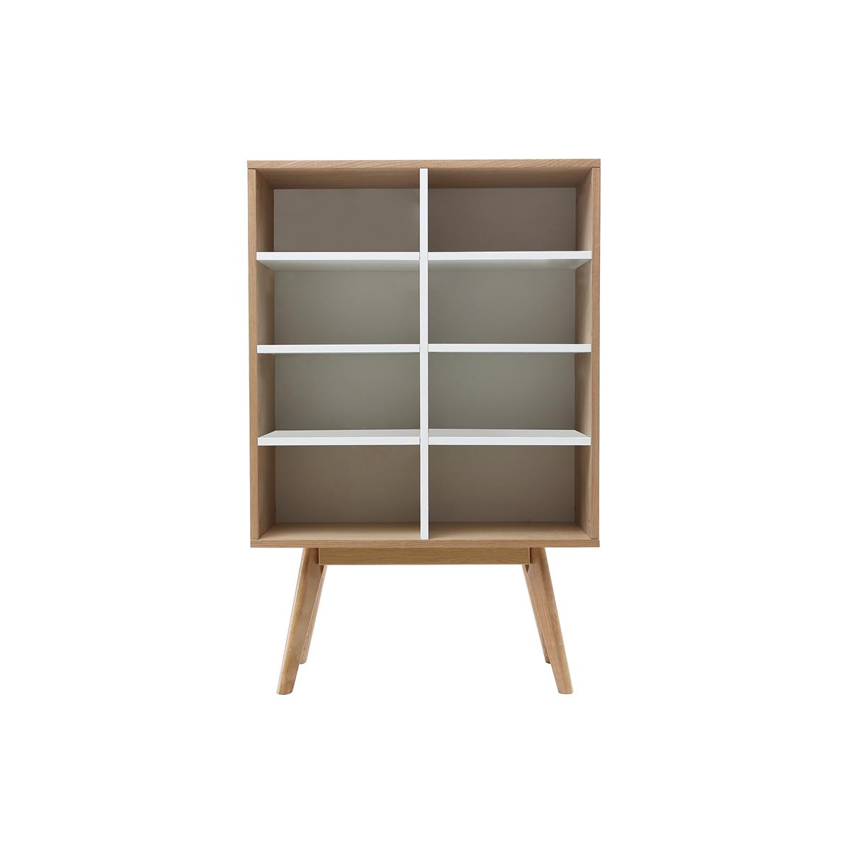 Libreria design scandinava quercia e bianco HELIA