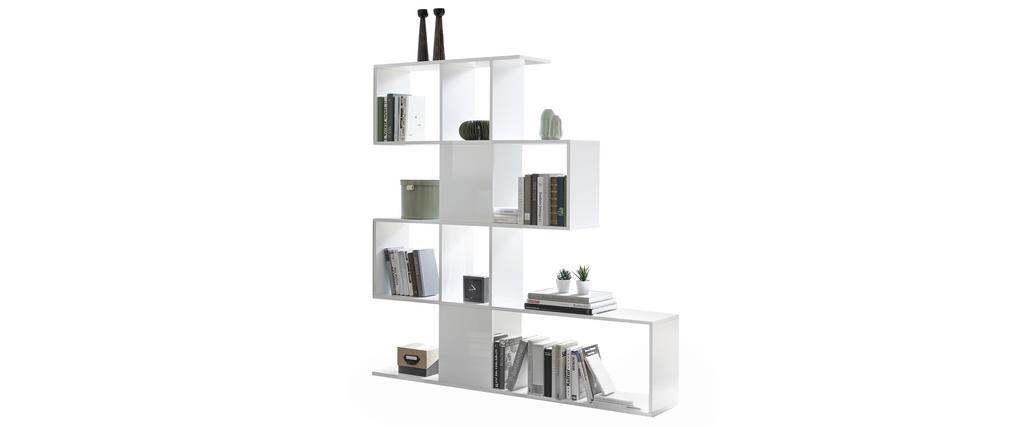 Libreria di design bianco laccato lucido H147 cm COM