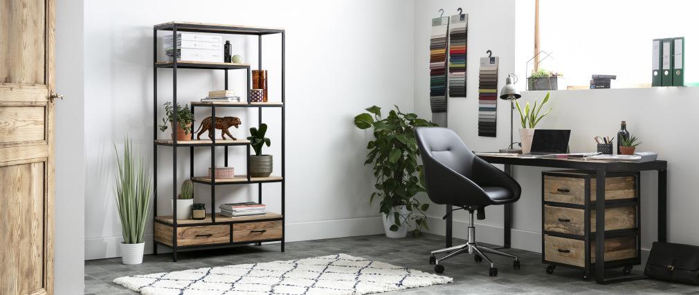 Libreria industriale in acacia e metallo nero L90 cm JASPE