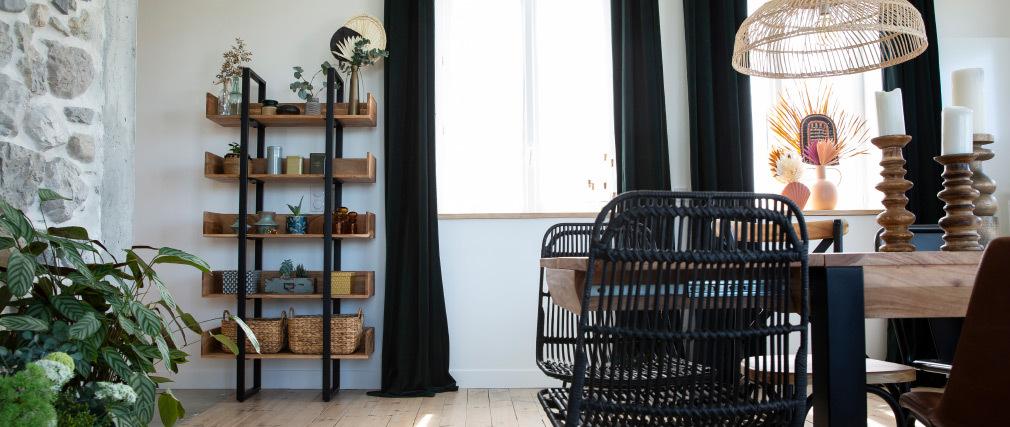 Libreria industriale in acacia e metallo nero L90 cm TAO