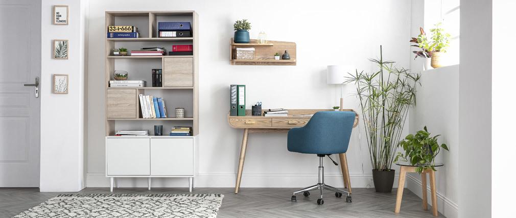 Libreria scandinava 10 scompartimenti legno e bianca STRIPE
