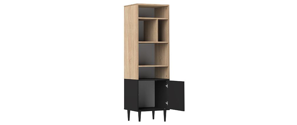 Libreria scandinava 6 scompartimenti legno e nero STRIPE