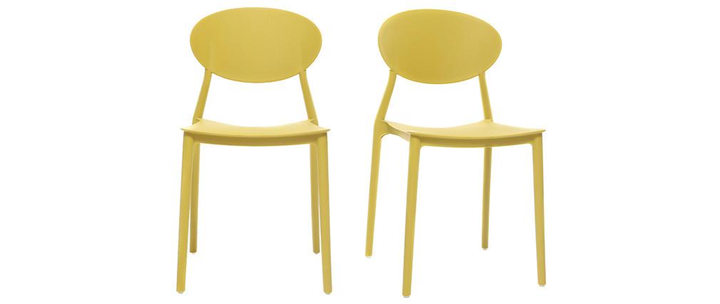 Lotto di 2 sedie design Giallo in polipropilene ANNA