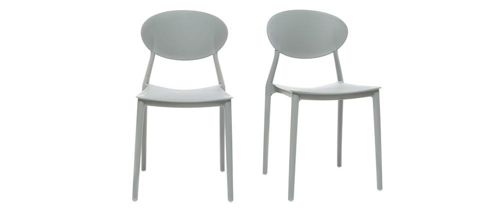 Lotto di 2 sedie design grigio in polipropilene anna miliboo for Sedie design grigie