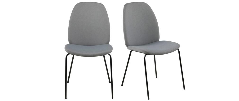 Lotto di 2 sedie design in tessuto grigio chiaro paloma for Sedie design tessuto
