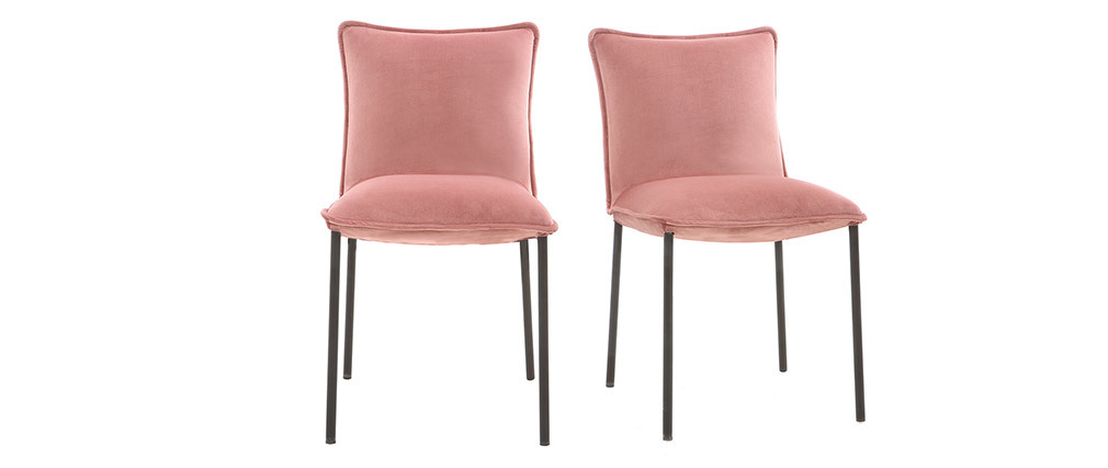 Lotto di 2 sedie design in velluto rosa SOLACE