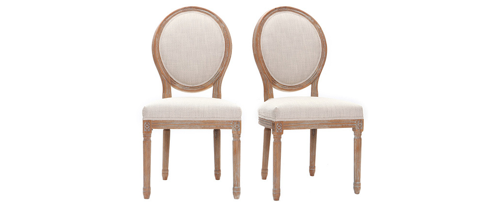 Lotto di 2 sedie e medaglione in tessuto Naturale piedi in legno chiaro LEGEND