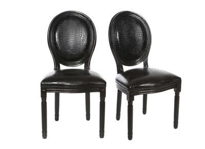 Lotto di 2 sedie in simil-pelle, colore: Nero, stile: coccodrillo, modello: LEGEND