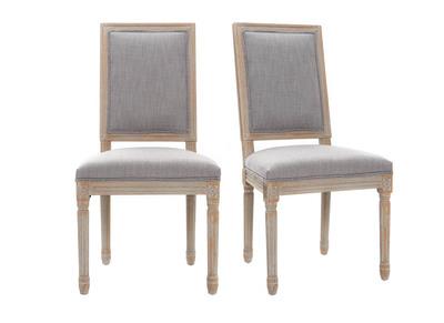 Lotto di 2 sedie in tessuto, colore: Grigio chiaro, piedi in legno chiaro, modello: AMAURY