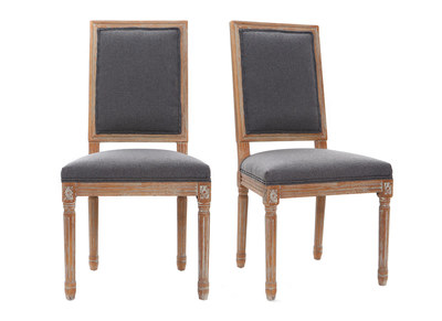 Lotto di 2 sedie in tessuto, colore: Grigio scuro, piedi in legno chiaro, modello: AMAURY