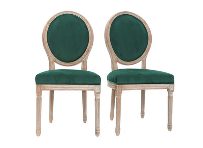 Lotto di 2 sedie in velluto, colore: Verde smeraldo, piedi in legno chiaro, modello: LEGEND