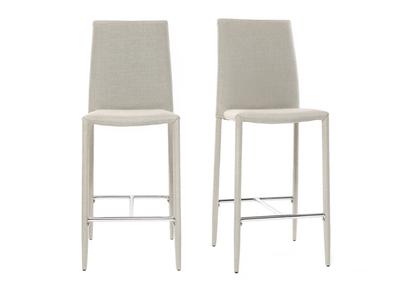 Lotto di 2 sgabelli / sedie da bar, di design, colore: Grigio chiaro, modello: TALOS