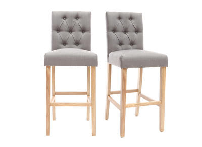 Lotto di 2 sgabelli/sedie da bar, in tessuto, colore: Grigio chiaro, altezza: 75cm, modello: RIVOLI