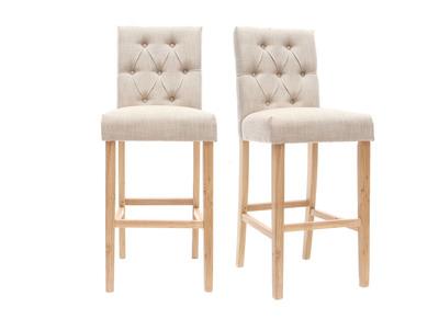 Lotto di 2 sgabelli/sedie da bar, in tessuto, colore: Naturale, altezza: 75cm, modello: RIVOLI