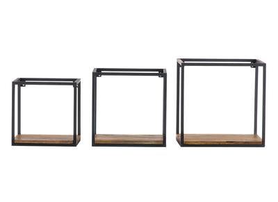 Lotto di 3 mensole da parete, in metallo, colore: Nero e Mango, forma quadrata, modello: YPSTER