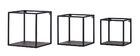 Lotto di 3 mensole da parete quadrate in stile industriale in metallo Nero KARL