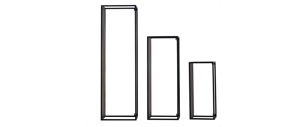 Lotto di 3 mensole da parete rettangolari in metallo Nero KARL