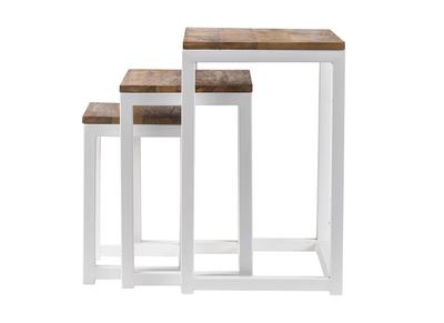 Lotto di 3 tavolini a scomparsa in legno e metallo, colore: Bianco, modello: ROCHELLE