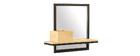 Mensola a muro industriale con specchio in metallo e mango massiccio L50cm RACK
