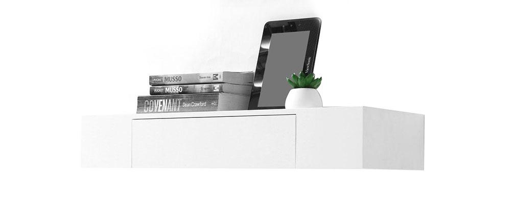 Mensola design colore bianco con cassetto yza miliboo for Mensola con cassetti ikea