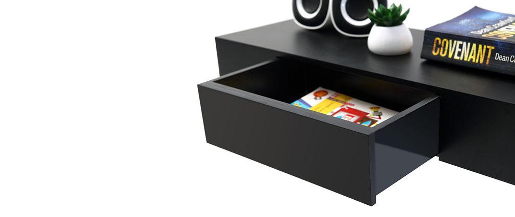 Mensola design colore nero con cassetto yza miliboo for Mensola con cassetto