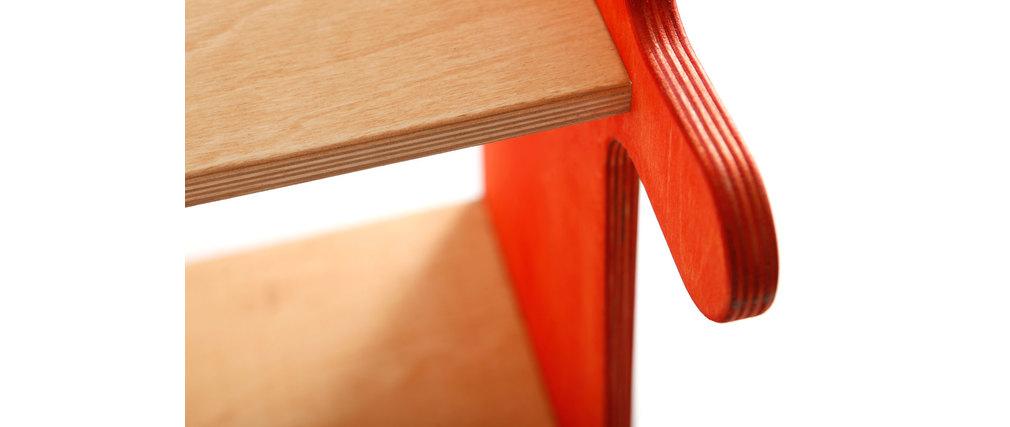 Mensola libreria in pino massiccio arancione e bianca baobab   miliboo