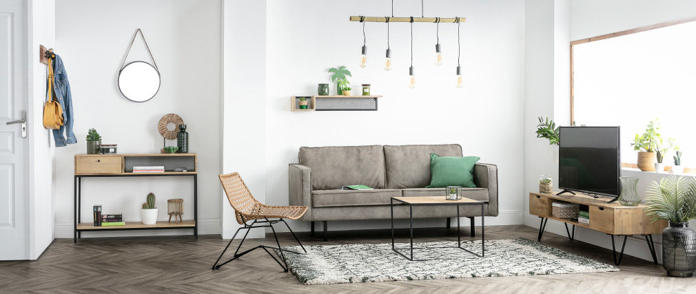 Mensola murale industriale in mango e metallo 90 cm RACK