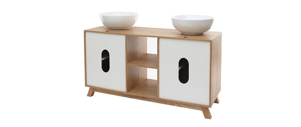 Mobile da bagno: 2 lavabi 2 porte Quercia chiaro e Bianco TOTEM