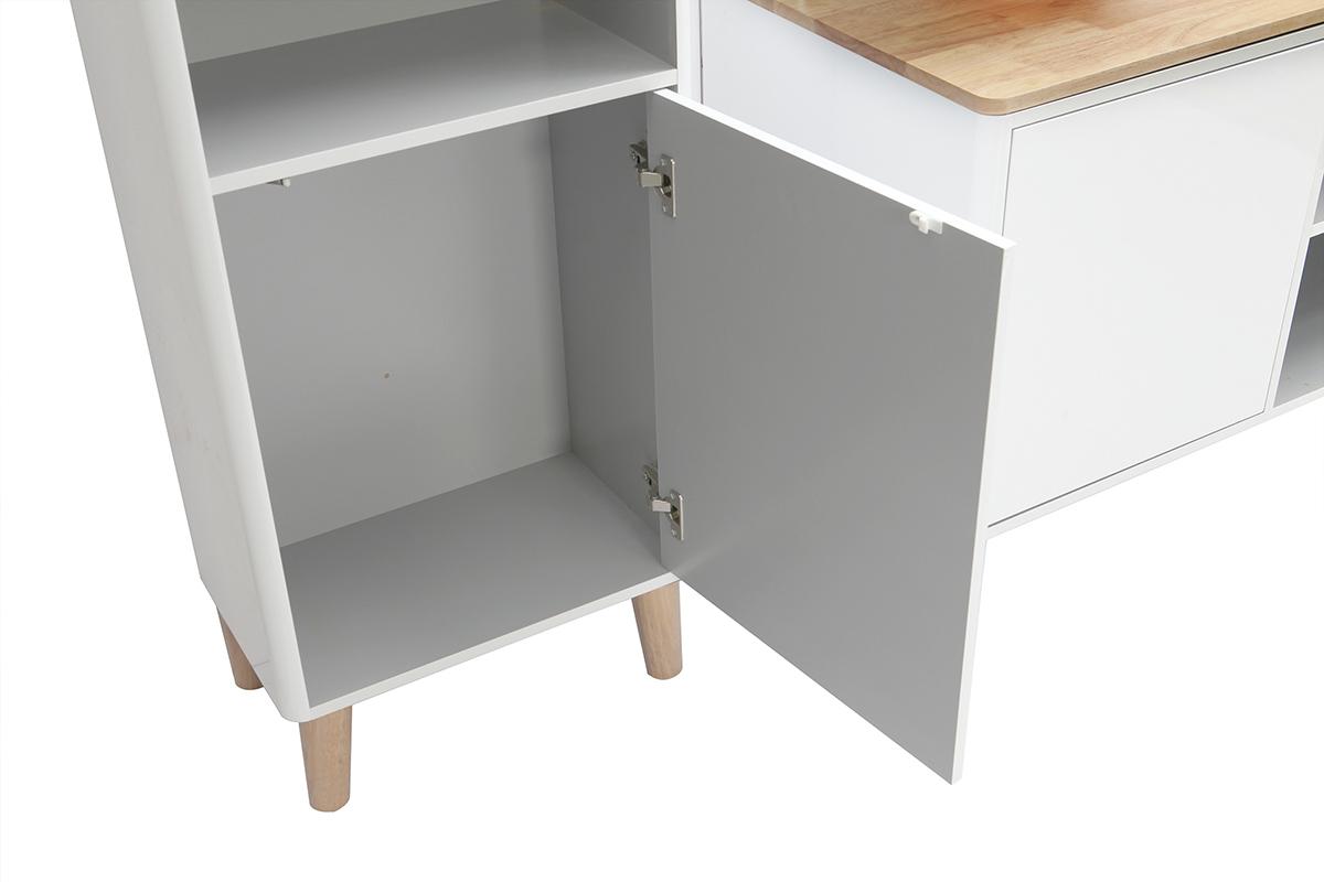 Lavandino Bagno Con Piede mobile da bagno con colonna e specchio bianco e legno (senza