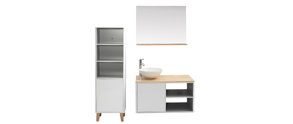 Mobile da bagno con colonna e specchio bianco e legno (senza lavandino) LAÏTA
