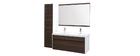 Mobile da bagno con doppio lavabo, specchio e nicchie bianco e legno scuro GANFO