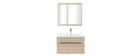 Mobile da bagno con lavabo, specchio e cassetti legno chiaro SEASON