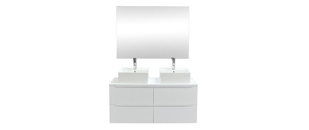 Mobile da bagno con specchio e cassetti bianchi (lavandini non inclusi) LOTA