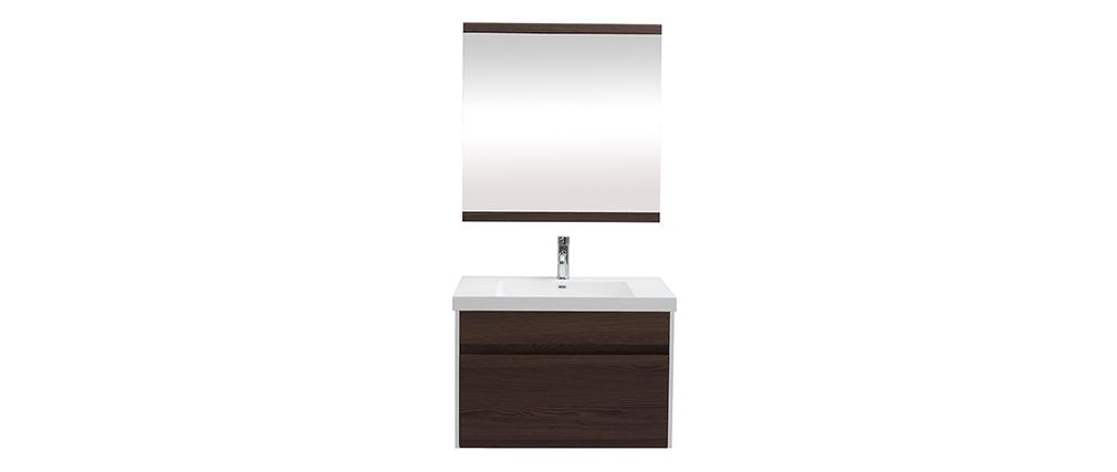 Mobile da bagno con vasca specchio e cassetti bianco e legno scuro GANFO