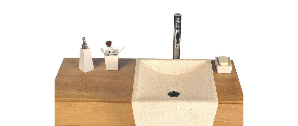 Mobile da bagno design etnico in tek e terrazzo con lavandini incassati ARU