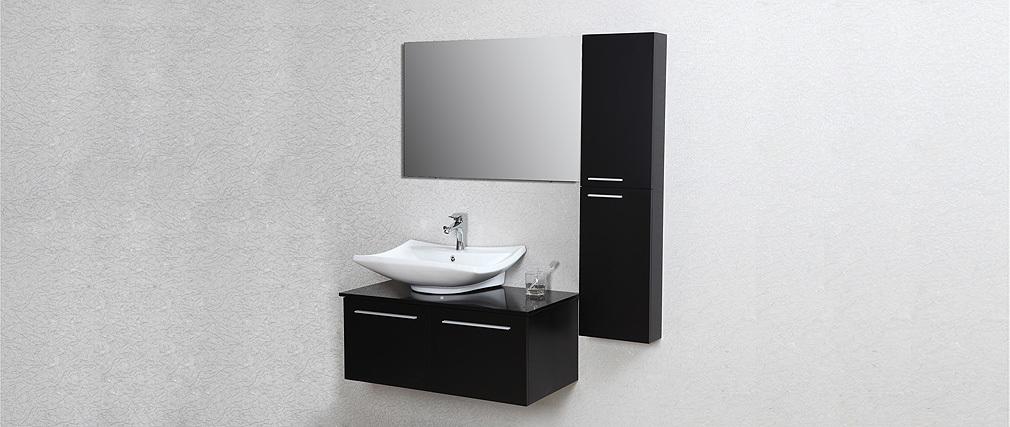 Mobile da bagno design laccato nero opaco : mobile sottovasca, vasca, colonna e specchio HORIZON ...