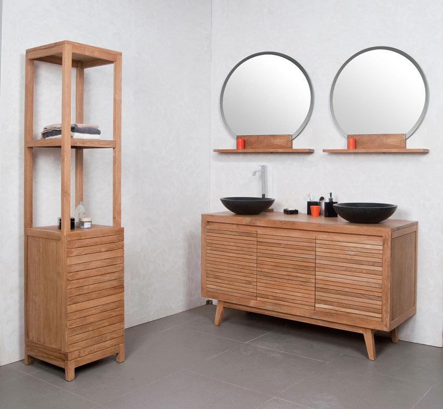 Mobile da bagno doppia vasca nero e teck anio miliboo - Vasca da bagno doppia ...