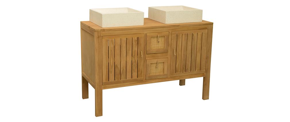 Mobile da bagno in teck per applicare doppio lavandino (lavandini esclusi) ARECA
