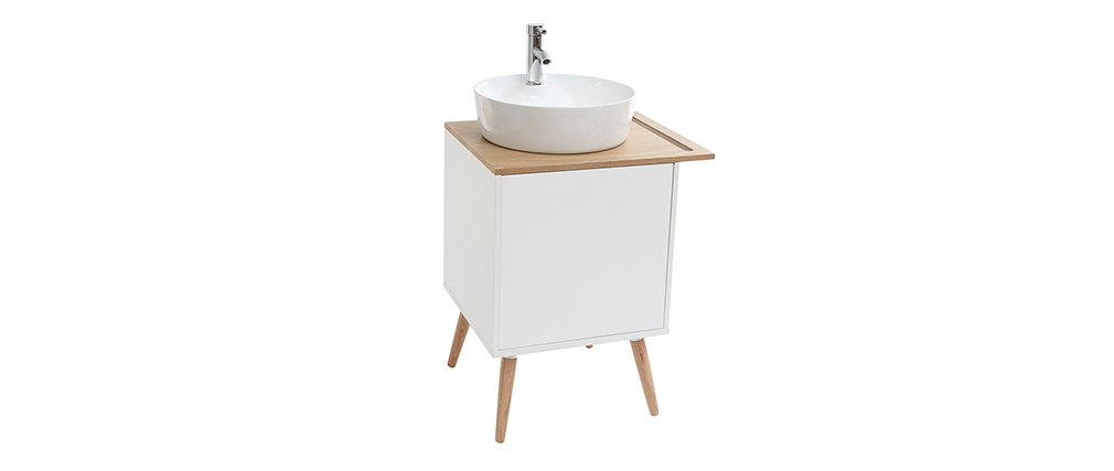 Mobile da bagno: lavabo mobile sotto al lavabo una porta Quercia e Bianco TOTEM