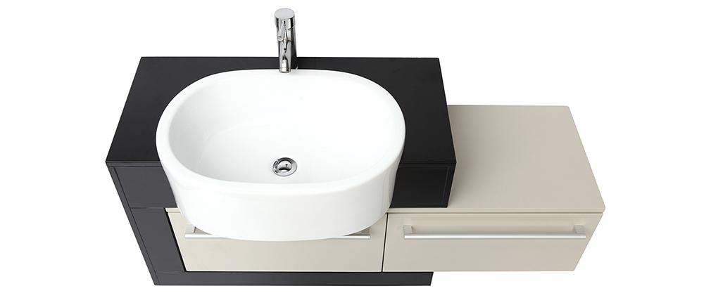 Mobile da bagno : lavabo mobile sottovasca mensola e specchio MARLO