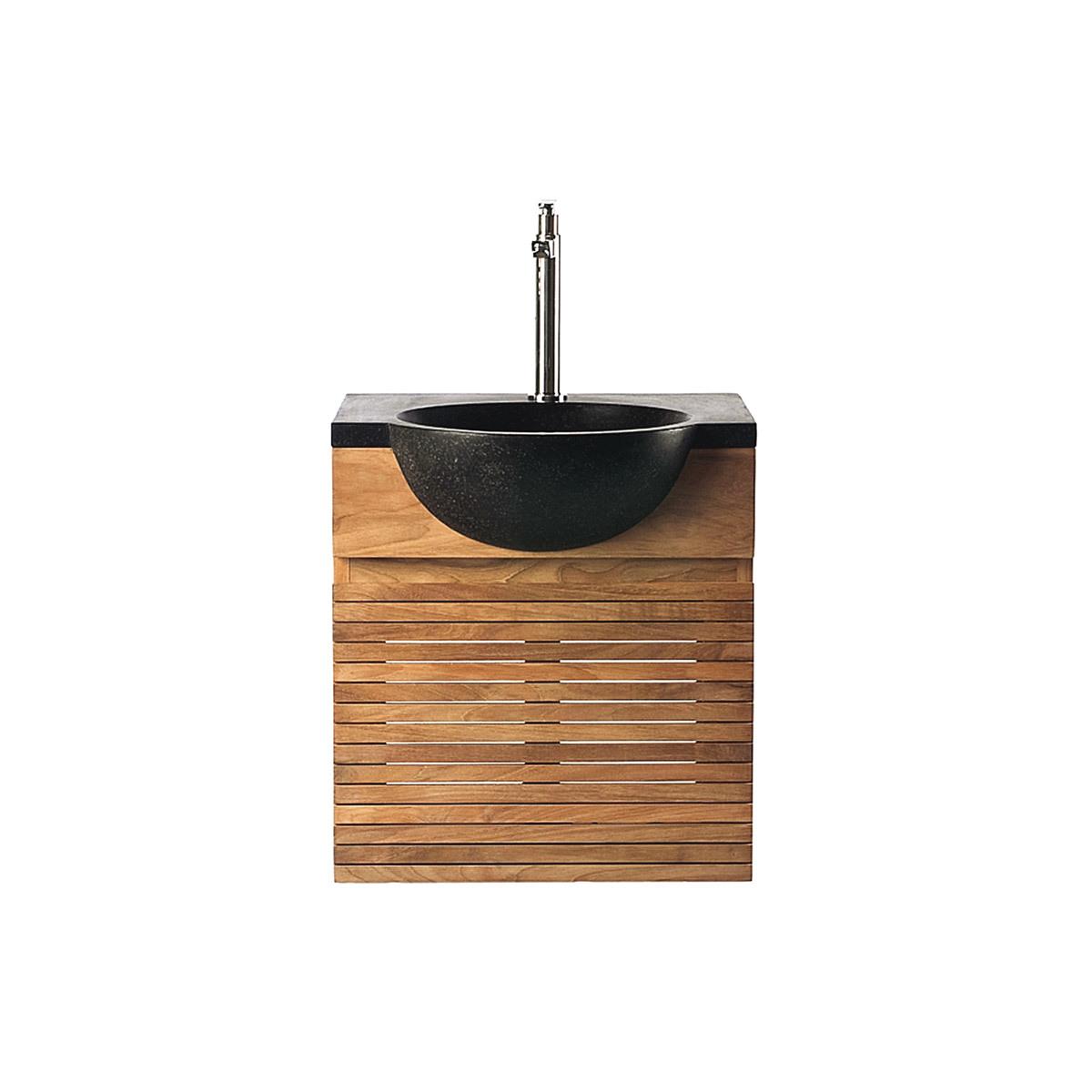 Mobile da bagno : mobile sottovasca teck e vasca terazzo ISAK