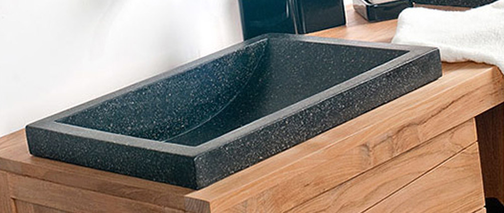 Mobile da bagno pensile in teck con doppia vasca ANKO