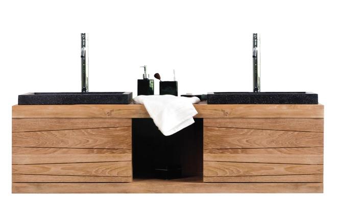 Mobile da bagno pensile in teck con doppia vasca anko miliboo