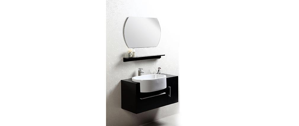 Mobile da bagno Sullivan nero : lavabo mobile sottovasca mensola e specchio.