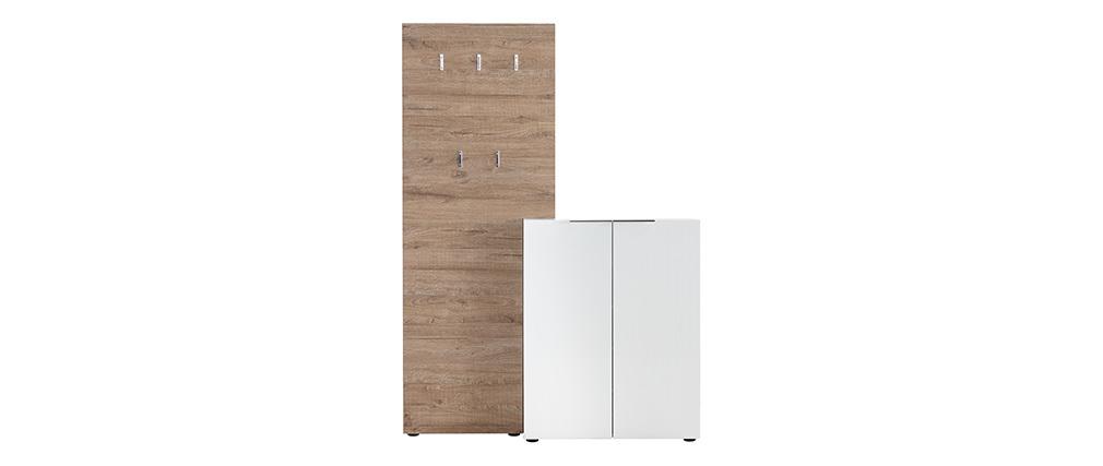 Mobile da ingresso legno bianco laccato con armadio e mensola porta abiti HALL