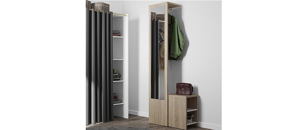 Mobile da ingresso modulabile con guardaroba, specchio e mensola in legno OLLY