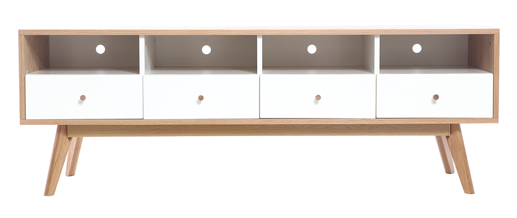 Mobile da TV scandinavo, in legno, colore: Bianco, modello: HELIA