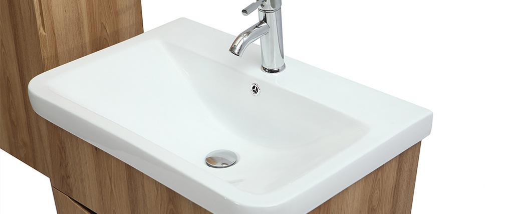 Mobile e colonna da bagno legno con vasca specchio e cassetti WILD